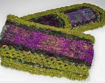 Large scarf doily OOAK table runner black purple green mixed wool bamboo silk blend yarn hand spun crochet dyed yarn