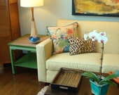 Upcycled Heritage Henredon Pair of Vintage Mid-Century Oriental Style Warm Green End Tables with Grass Cloth Tops