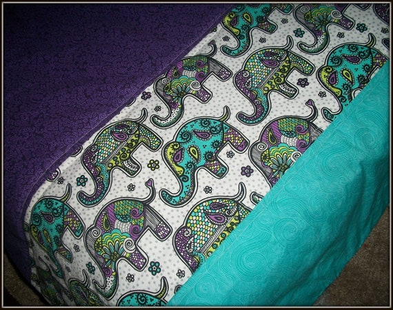 Modern Toddler Purple Grey And Teal Elephant Quilt For Boy Or