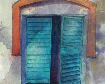 Blue window shutters - fine art print