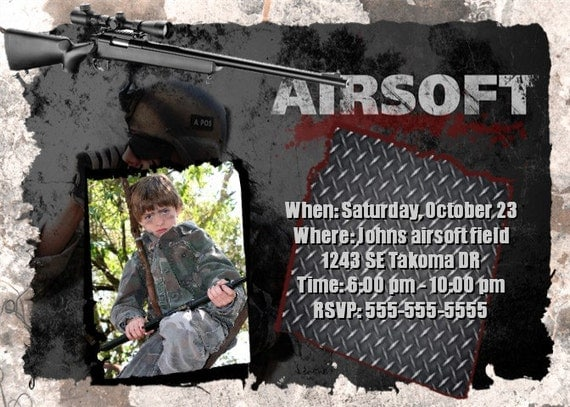 Items Similar To Airsoft Invitation Birthday Personalized