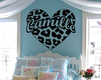 Leopard Spot Heart w/ custom text Vinyl Wall Decal Sticker Art