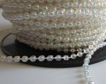 Pearl Trim - 3mm Iridescent clear - Cut to Length LOT001