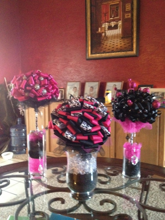 Items similar to hot pink and black centerpieces on etsy