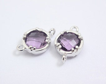 S100- 20PCS - Rhodium Plated -Amethyst -Glass