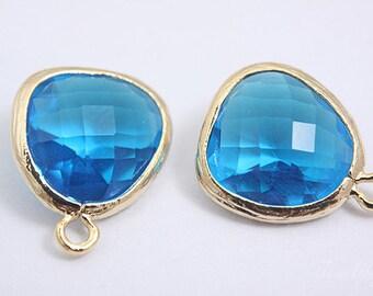BULK package-H1057- 100pcs -Gold plated-Framed glass Capri blue