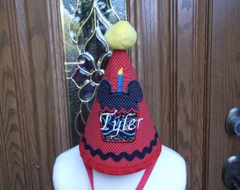 Boys First Birthday Party Hat - Mickey Mouse Cupcake Hat   - Free Personalization - Fast Shipping