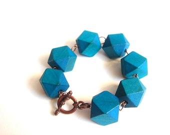 Wood Geometric Bracelet  , Wood Bracelet,  ,Geometric Jewelry