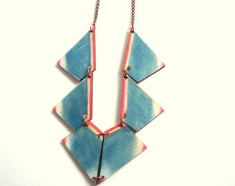 Painted Geometric Necklace, Wood Triangles Necklace,Wood Tribal Necklace,Geometric Jewelry