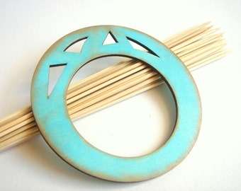 Aqua Blue Wood Bangle, neon Wood Bracelet, Geometric Jewelry