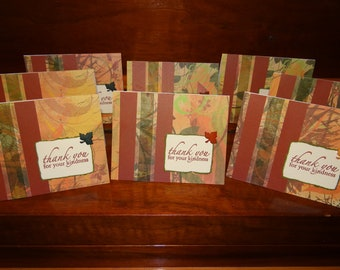 Handmade Thank You Cards, Autumn Leaves - Set of 8