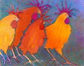 Whimsical Funky Fun Colorful Chicken Art Print, backyard hobby Farm chicks, French kitchen rooster art, baby, kids, room decor. oil pastel