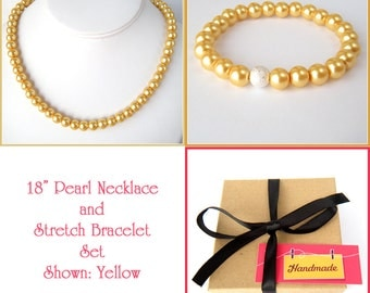 Yellow Pearl Necklace, Stretch Bracelet Set Bridesmaid Gift