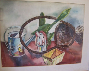 From the Estate of Ruddolph Stanish Signed Original Whimsical Watercolor of Dog on Table