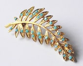 Beautiful Vintage Leaf Feather Brooch, gold & turquoise detail, badge, pin, gift