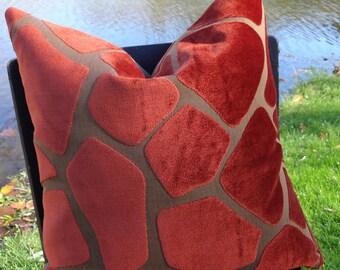 SALE ~~ Burnt Crimson Pattern Cut Velvet Designer Pillow Cover