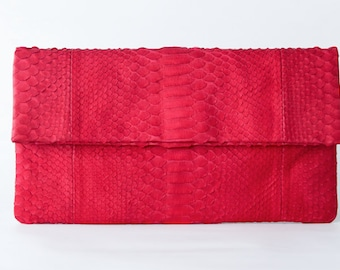 Red - Genuine Python snakeskin Clutch / Envelope  -  Large