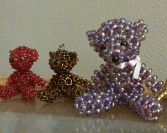Purple beaded bear