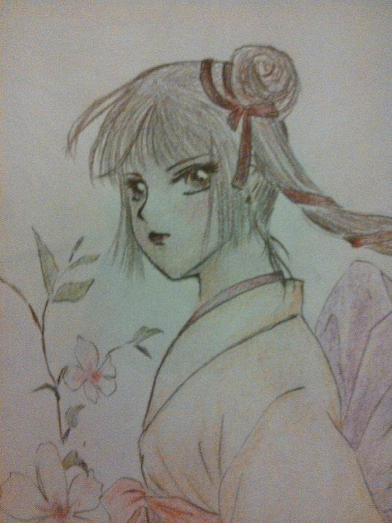 Japanese Anime Manga Style Water Color Pencil Drawing