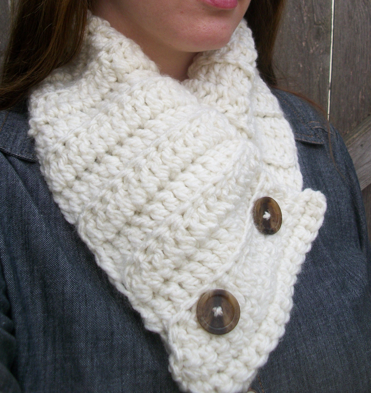 Buttoned Scarf Cowl Scarf Chunky Neck Warmer Button Up
