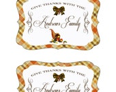 Thanksgiving Collection - Printable 4inch x 6inch Customized  WINE BOTTLE LABELS - Sweet Scarlett Events