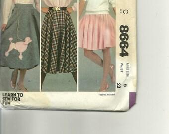 1950 Styled Skirts Pattern No 8664