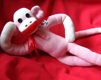 Sock Monkey Pink Sweetheart - Heart Mom Tattoo - Handmade Stuffed Animal Doll Toy - Rockford Red Heel Socks
