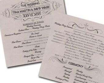 Qty. 50 Wedding Program Fan Traditional Wedding Program Art Deco Wedding Program Great Gatsby Wedding Program Wedding Programs 1 Sheet