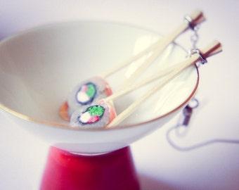 Handmade, Chopstix & Sushi Dangle Earrings - Wood