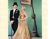 Gene Nelson and Doris Day Vintage Movie Illustration from Lullaby of Broadway, Magazine Book Plate c.1950's Retro Bookplate.