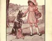 1920s Large Vintage Colour Illustration from a Childrens book. Original Book Plate, Girl with dog and doll