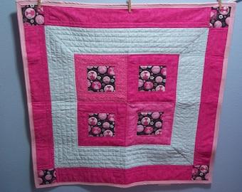 Hot Pink Kitties Baby Quilt
