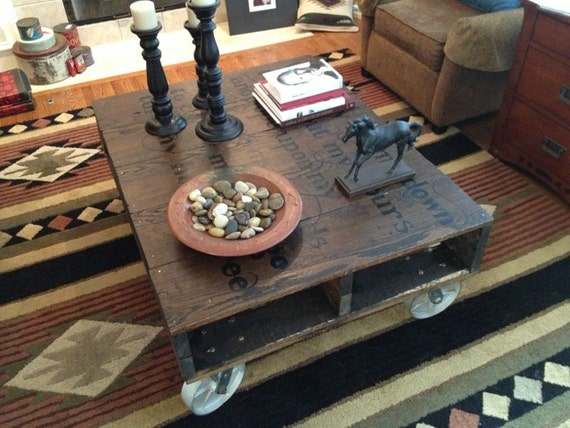 Items similar to custom hand made pallet coffee table with for Painted pallet coffee table