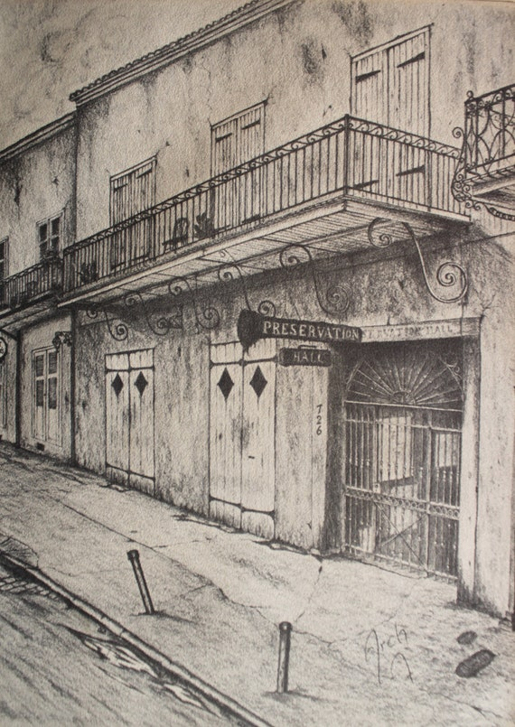 Vintage New Orleans Archie Boyd Pencil Sketch 70s Print Of St