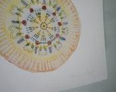 "Rose Mandala- 8x10"" zen watercolor art print"