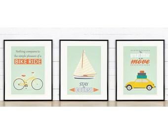 Retro poster, A3 set, bike, sailboat, vw beetle, mid-century design, Scandinavian design, print, inspirational vintage poster