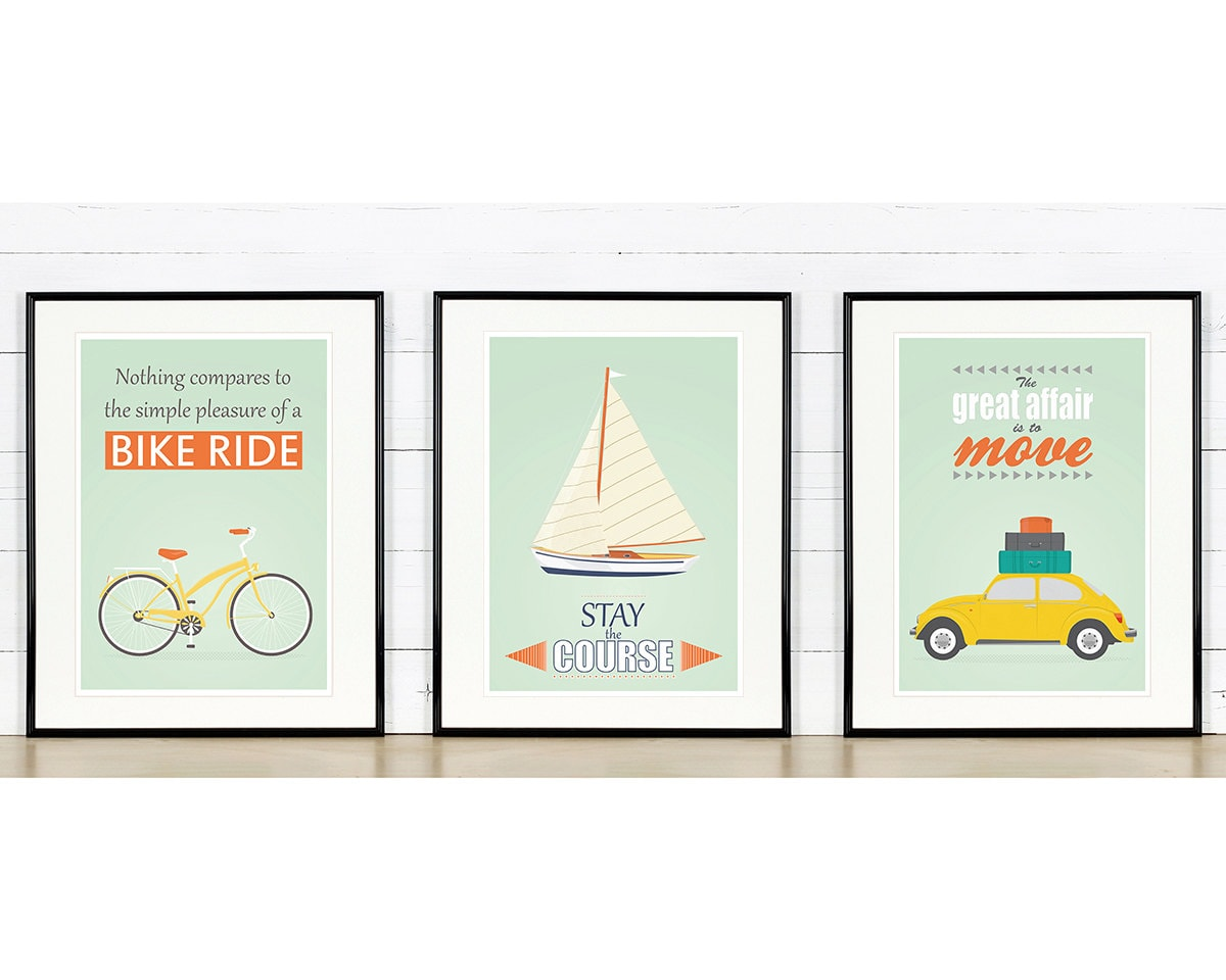 retro poster a3 set bike sailboat vw beetle mid century. Black Bedroom Furniture Sets. Home Design Ideas