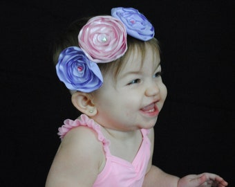 Pink and lavander satin flower headband
