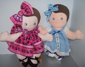 "Easy Cloth Doll PDF Pattern Tea for 2 - Twins 4 You Cutie Pie PDF 15"" Pancake Doll Pattern- Easy Beginner Sewing Patterns by Peekaboo Porch"