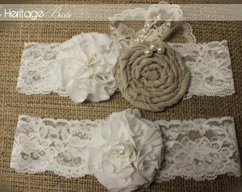 Wedding Garter, lace garter, Rustic Garter, fall garter, Garter, Garters, Burlap Garters, Bridal Garter,  Rustic Wedding, ivory garter