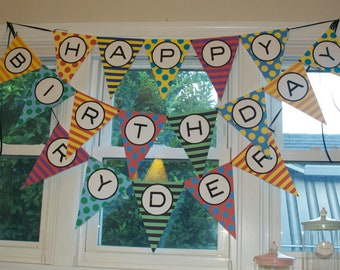 DIY Primary colored birthday banner printable file