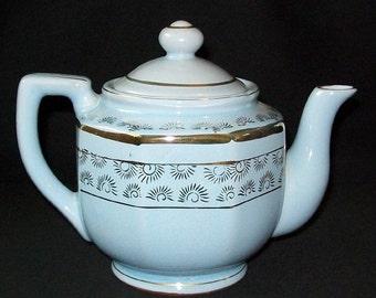 Vintage Gold Color Trim Embellished Pastel Blue Tea Pot