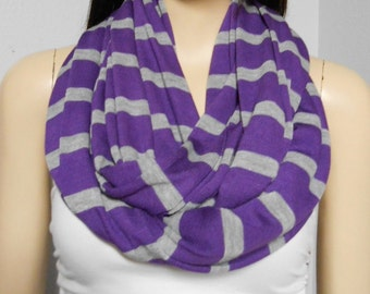 Infinity Scarf  Purple & Gray  Super Soft  Sweater Knit