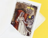 greeting card of watercolour Miss Havisham Great Expectations character Charles Dickens