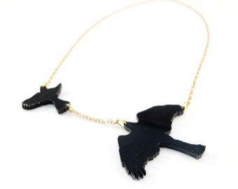 Laser Cut Sparrowhawk  Bird Necklace in black perspex