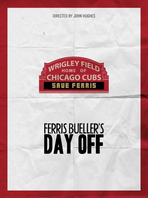 Items similar to FERRIS BUELLER'S Day Off Minimalist Movie ...