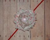 Holiday Shabby Rose Headband/Clip