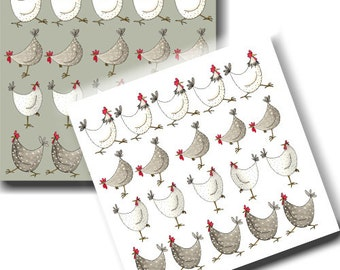 Multi Chicken Cards - Pack of 6 - Barnyard Theme, Watercolour, Bird Notelets, Stationery, Blank inside