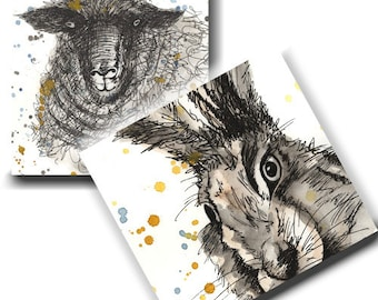 Animal Cards - Sheep and Hare (2 designs) Pack of 6 - Pencil and Ink, Notelets, Stationery, Blank inside