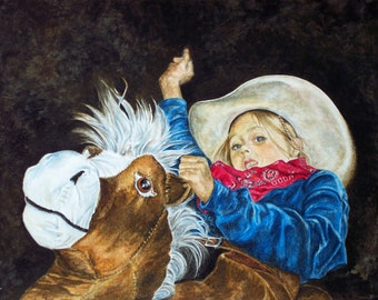 Western Decor - Western Rodeo Cowgirl and Horse Giclee' Print